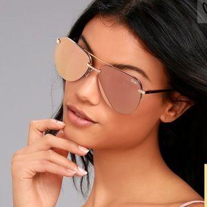 Quay The Playa Gold/Pink Lenses Aviator Sunglasses